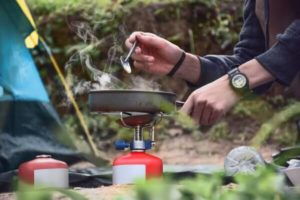 cooking on a backpacking stove